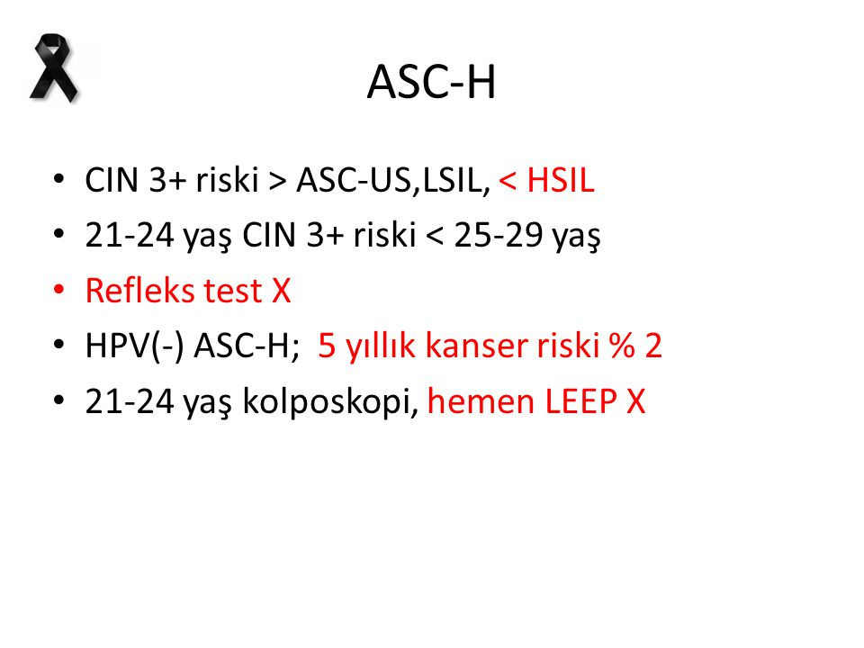 ASC-H CIN 3+ riski > ASC-US,LSIL, < HSIL