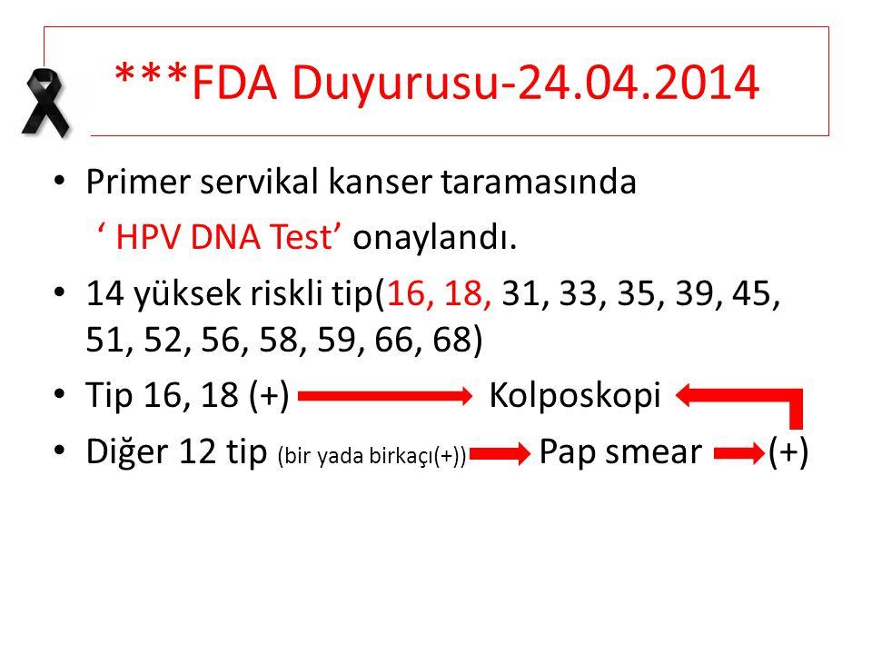 ***FDA Duyurusu-24.04.2014 Primer servikal kanser taramasında