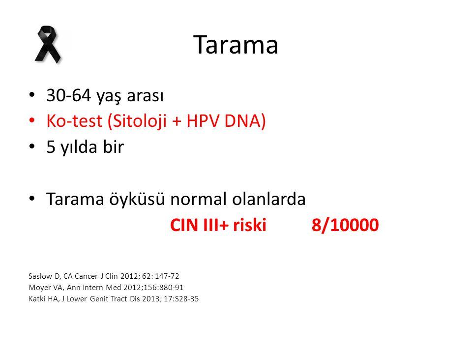 Tarama 30-64 yaş arası Ko-test (Sitoloji + HPV DNA) 5 yılda bir