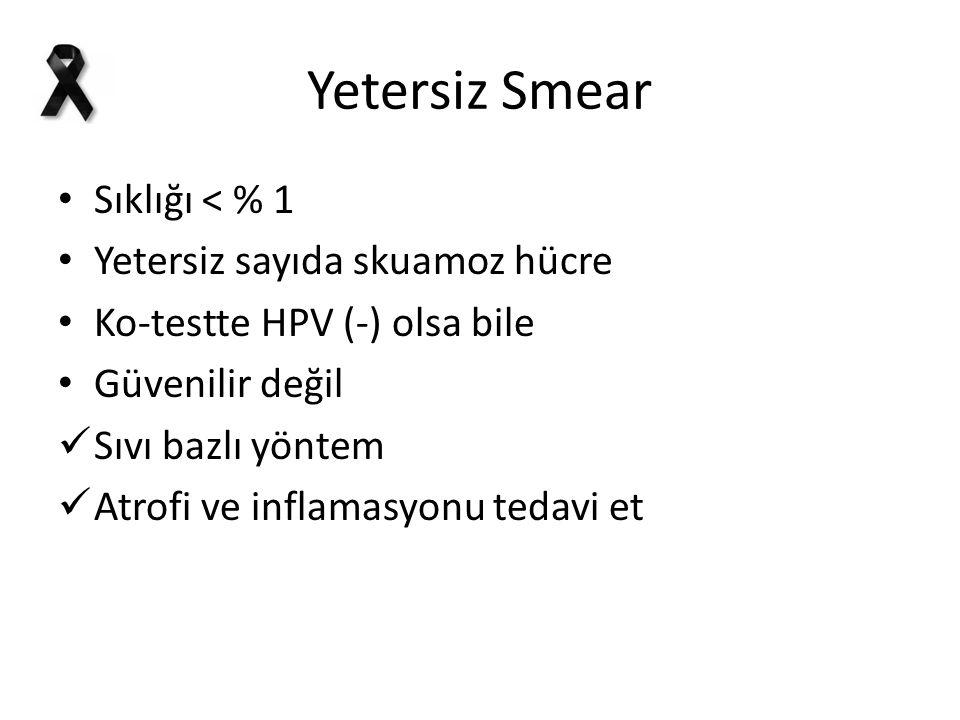 Yetersiz Smear Sıklığı < % 1 Yetersiz sayıda skuamoz hücre