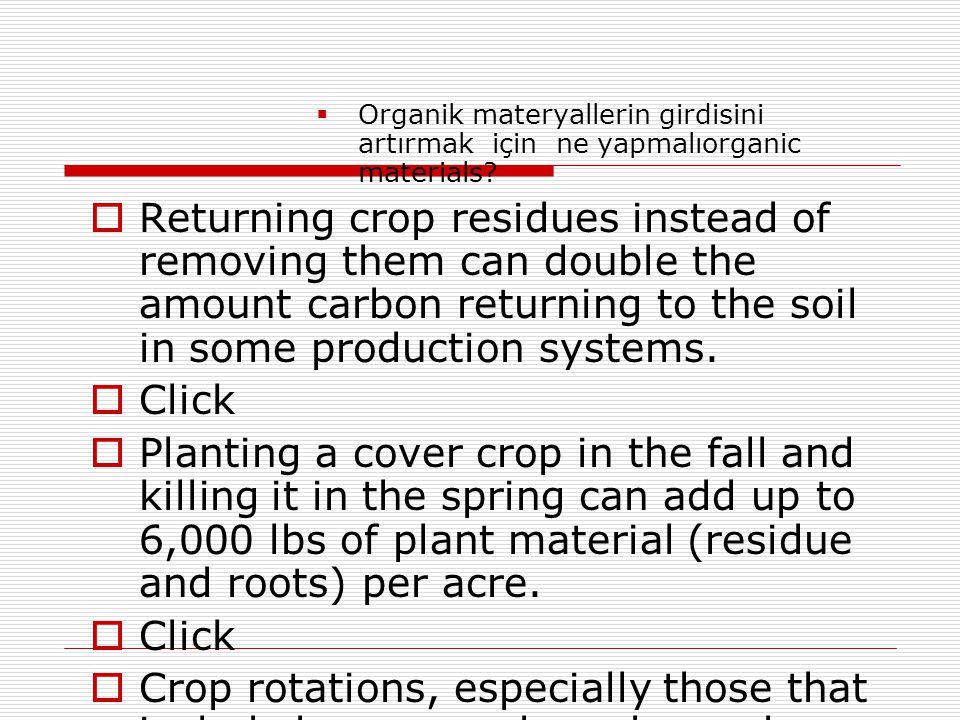 Organik materyallerin girdisini artırmak için ne yapmalıorganic materials