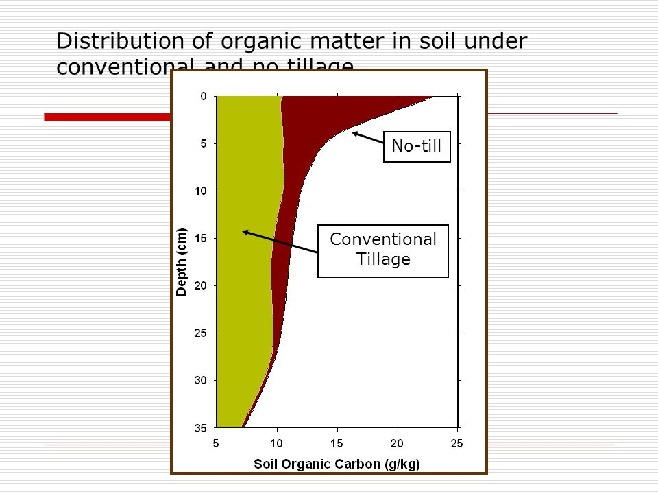 Distribution of organic matter in soil under conventional and no tillage