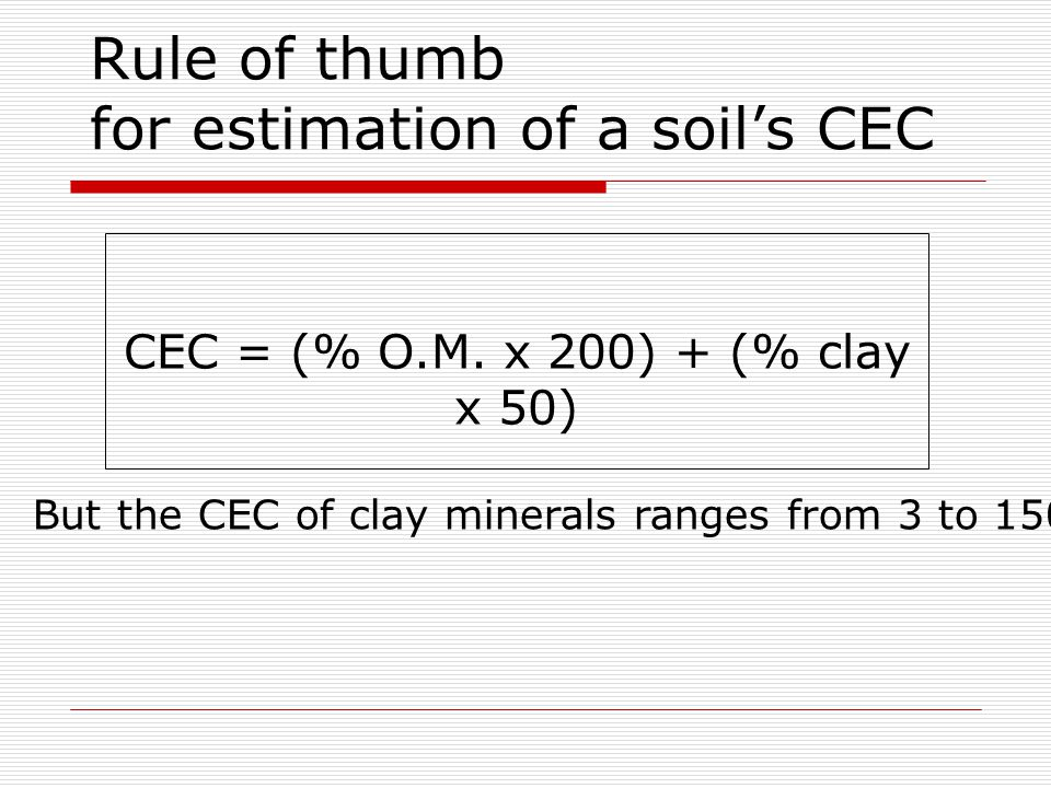 Rule of thumb for estimation of a soil's CEC