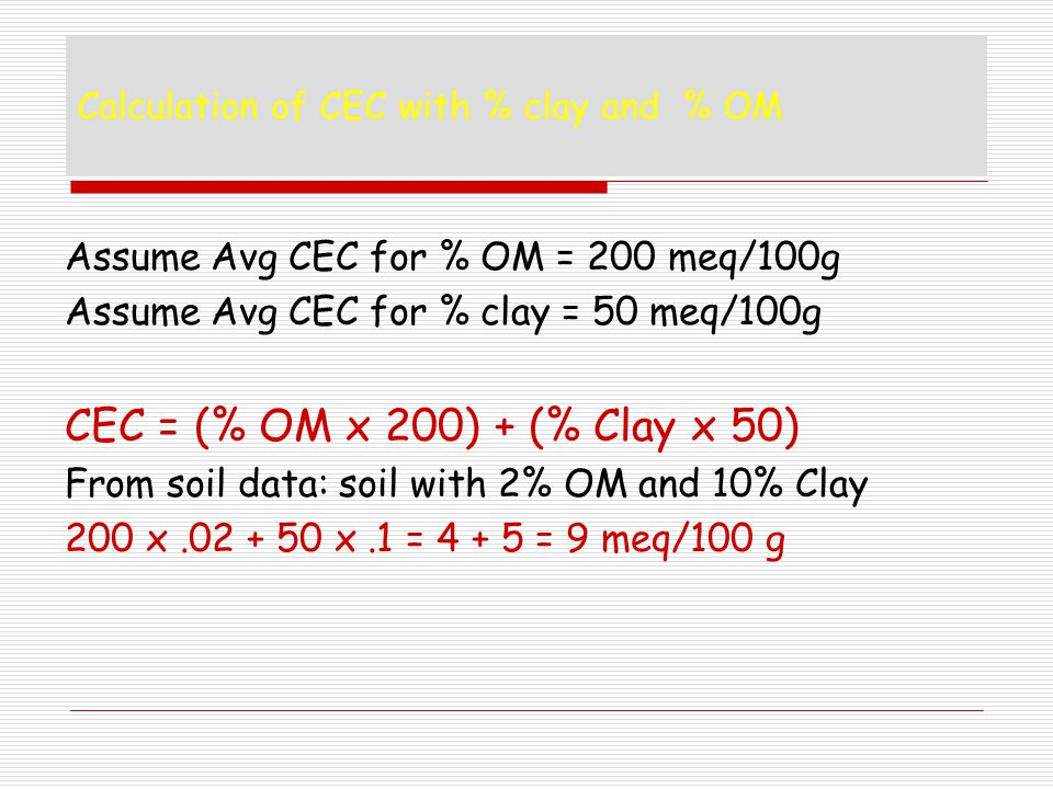 Calculation of CEC with % clay and % OM
