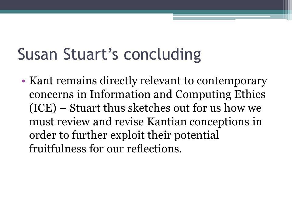 Susan Stuart's concluding