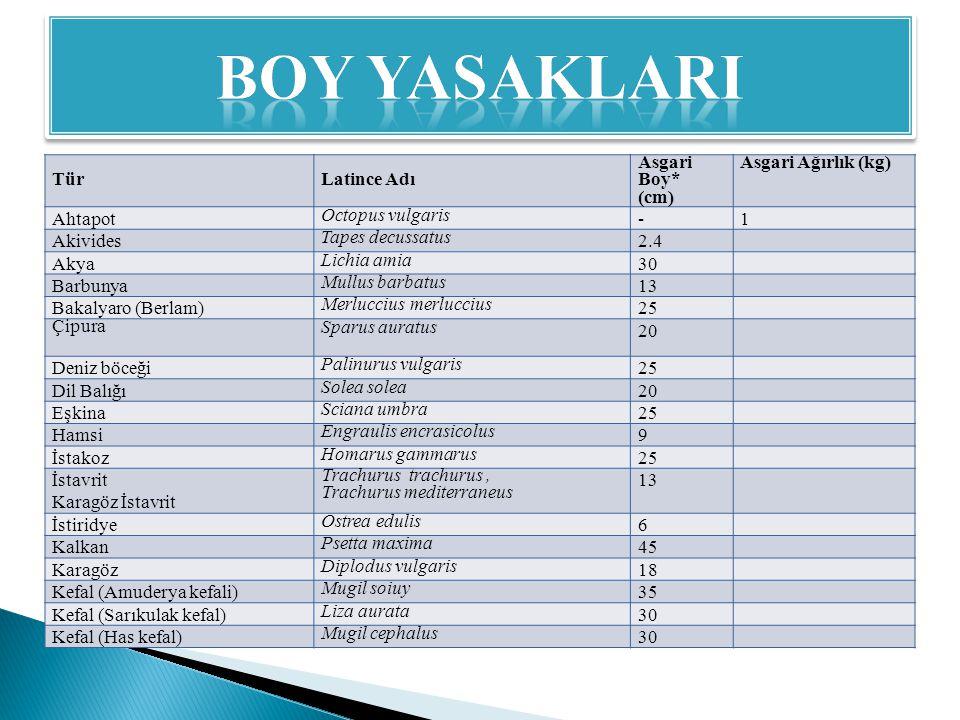 BOY YASAKLARI Tür Latince Adı Asgari Boy* (cm) Asgari Ağırlık (kg)