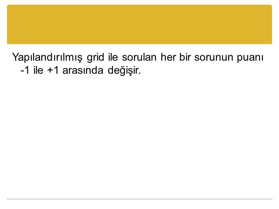 Yapılandırılmış grid ile sorulan her bir sorunun puanı -1 ile +1 arasında değişir.