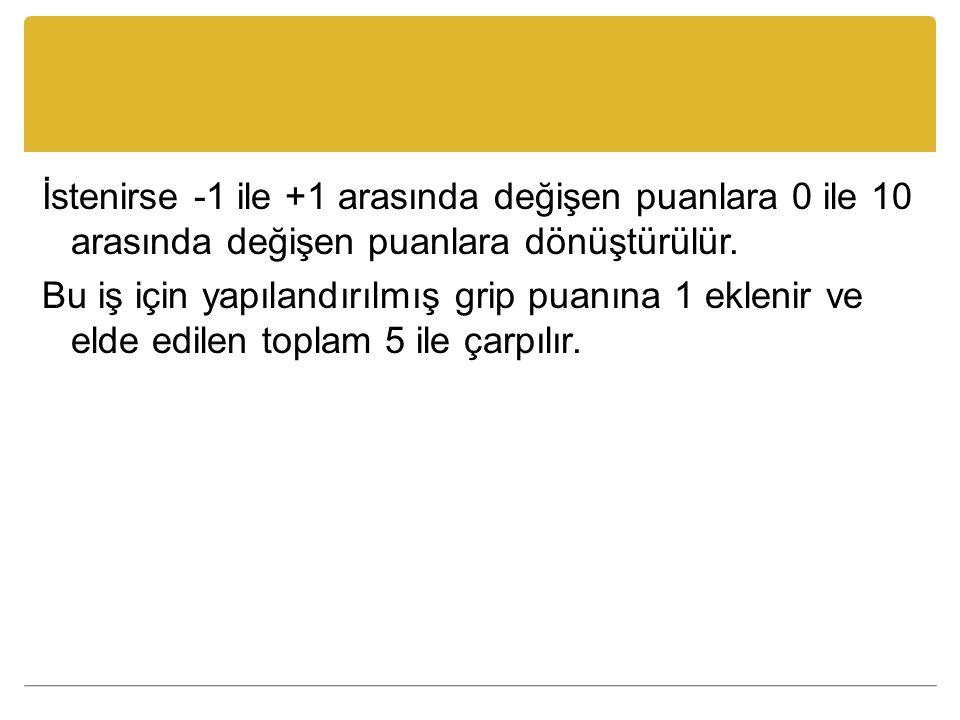İstenirse -1 ile +1 arasında değişen puanlara 0 ile 10 arasında değişen puanlara dönüştürülür.