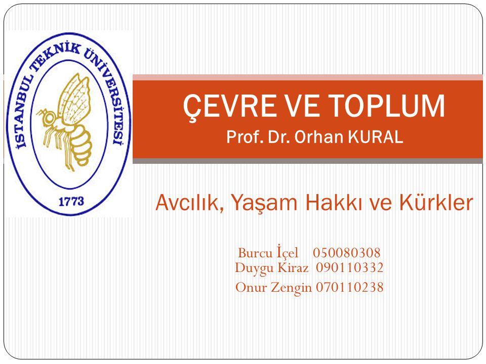 ÇEVRE VE TOPLUM Prof. Dr. Orhan KURAL Avcılık, Yaşam Hakkı ve Kürkler