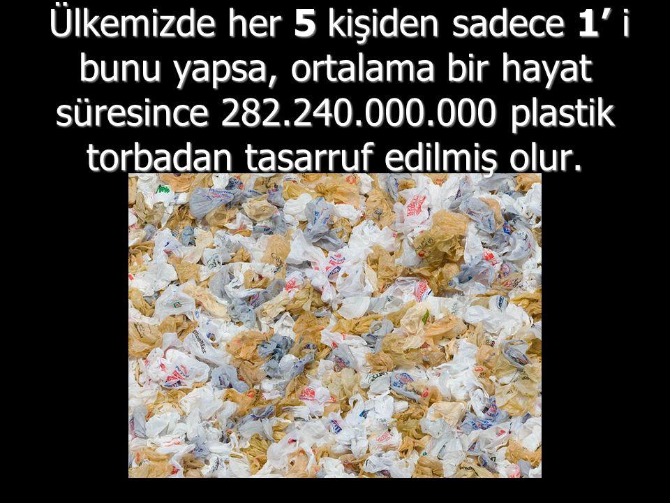 Ülkemizde her 5 kişiden sadece 1' i bunu yapsa, ortalama bir hayat süresince 282.240.000.000 plastik torbadan tasarruf edilmiş olur.