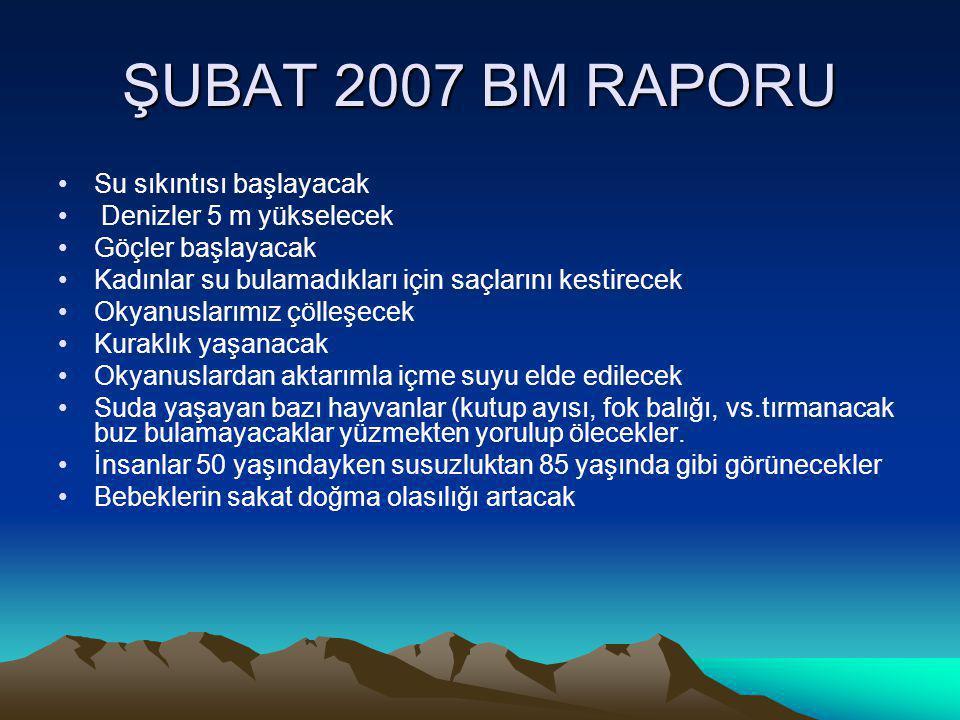 ŞUBAT 2007 BM RAPORU Su sıkıntısı başlayacak Denizler 5 m yükselecek