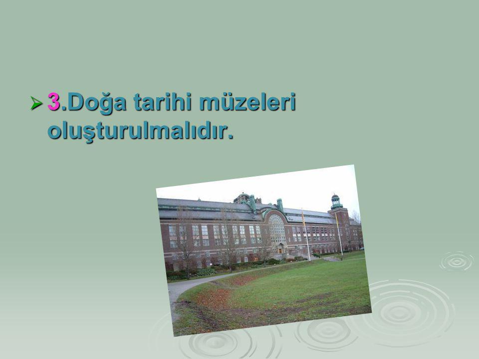 3.Doğa tarihi müzeleri oluşturulmalıdır.