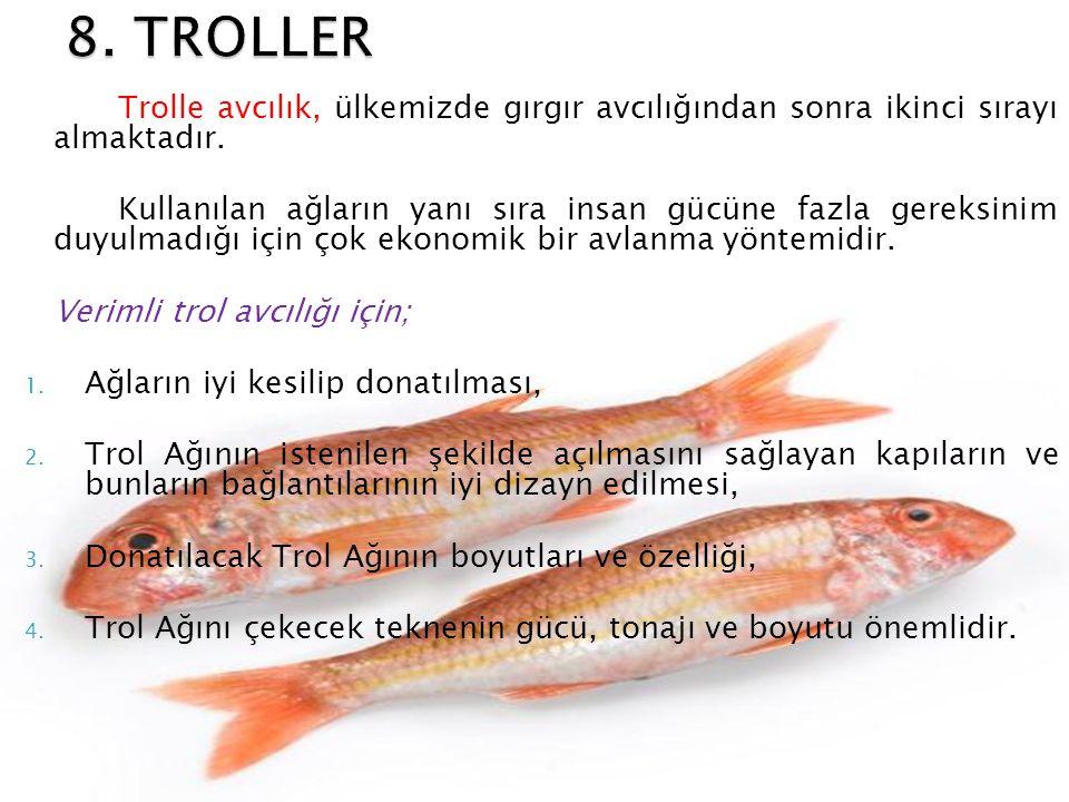 8. TROLLER Trolle avcılık, ülkemizde gırgır avcılığından sonra ikinci sırayı almaktadır.