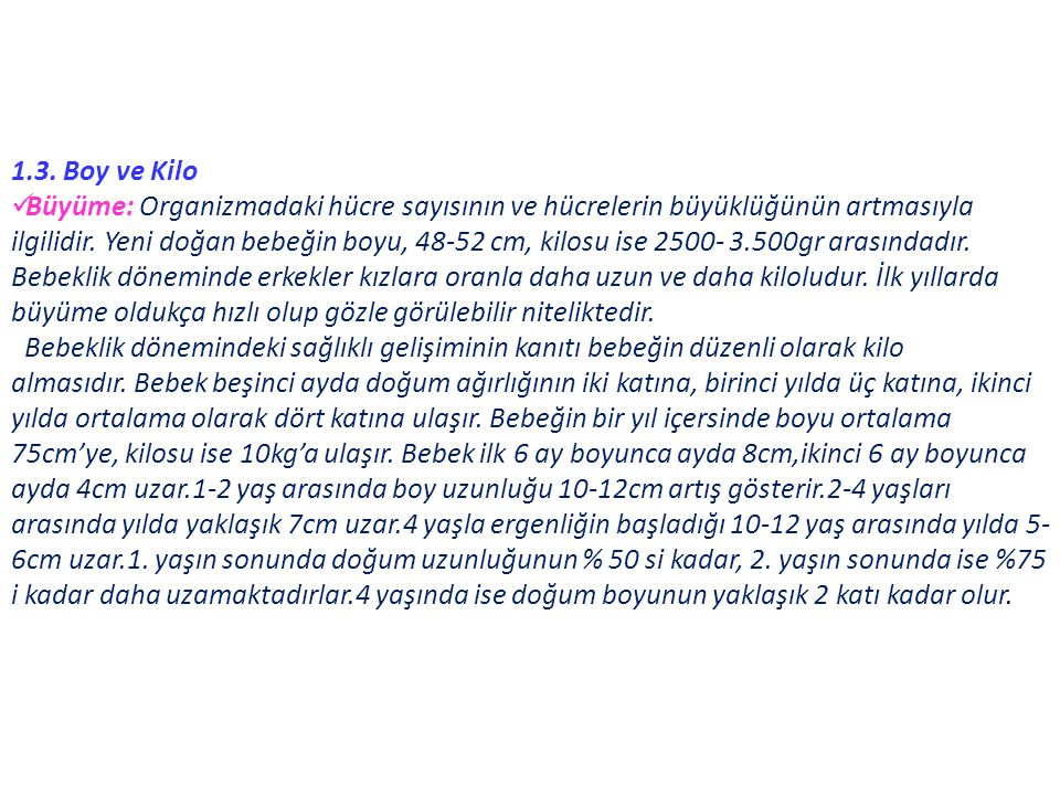 1.3. Boy ve Kilo
