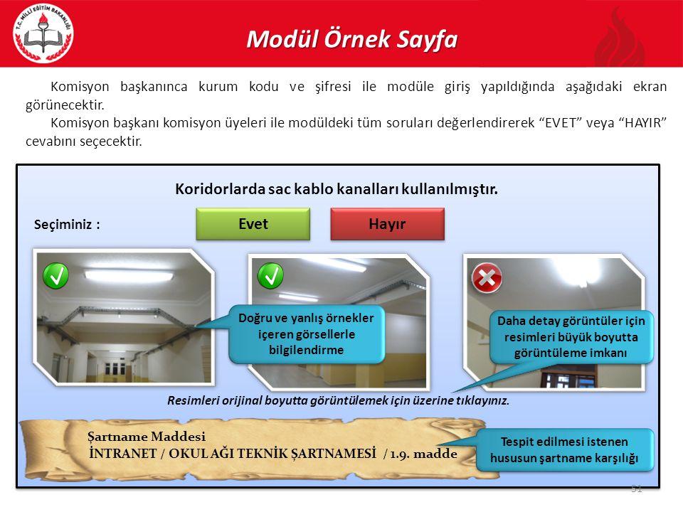 Modül Örnek Sayfa Koridorlarda sac kablo kanalları kullanılmıştır.