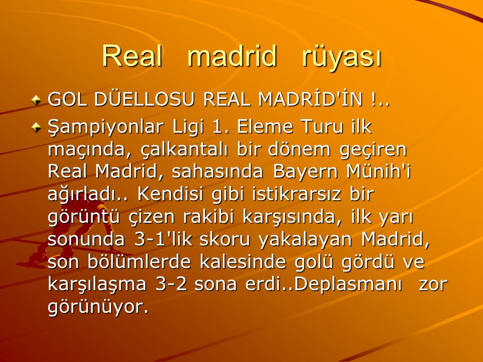 Real madrid rüyası GOL DÜELLOSU REAL MADRİD İN !..