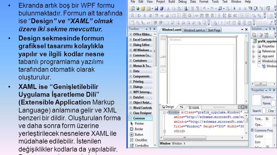 Ekranda artık boş bir WPF formu bulunmaktadır