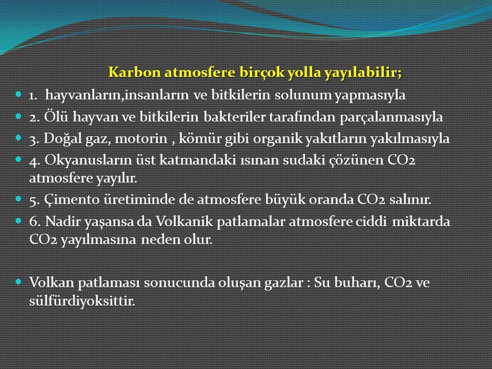 Karbon atmosfere birçok yolla yayılabilir;
