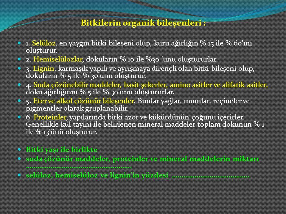 Bitkilerin organik bileşenleri :