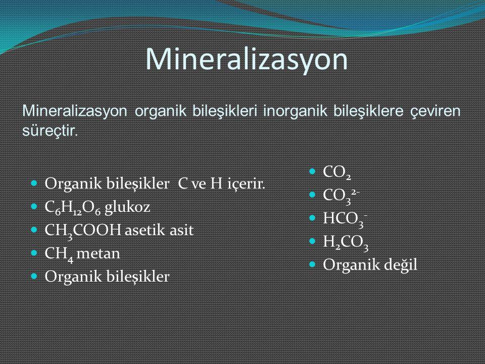 Mineralizasyon Mineralizasyon organik bileşikleri inorganik bileşiklere çeviren süreçtir. Organik bileşikler C ve H içerir.