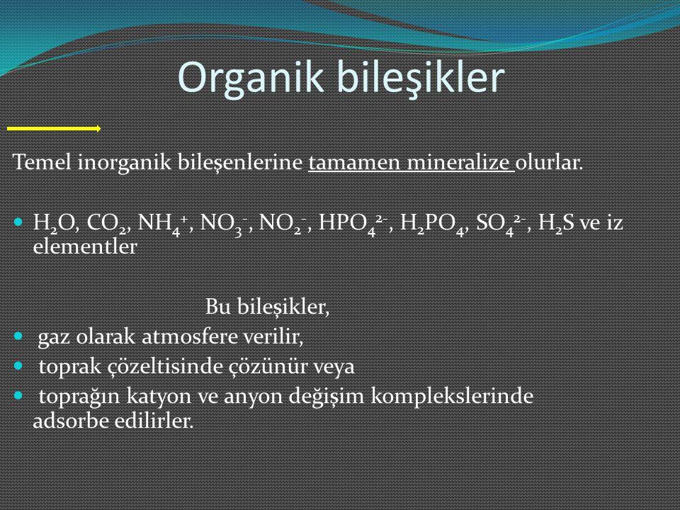 Organik bileşikler Temel inorganik bileşenlerine tamamen mineralize olurlar. H2O, CO2, NH4+, NO3-, NO2-, HPO42-, H2PO4, SO42-, H2S ve iz elementler.