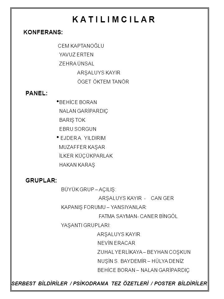 SERBEST BİLDİRİLER / PSİKODRAMA TEZ ÖZETLERİ / POSTER BİLDİRİLER