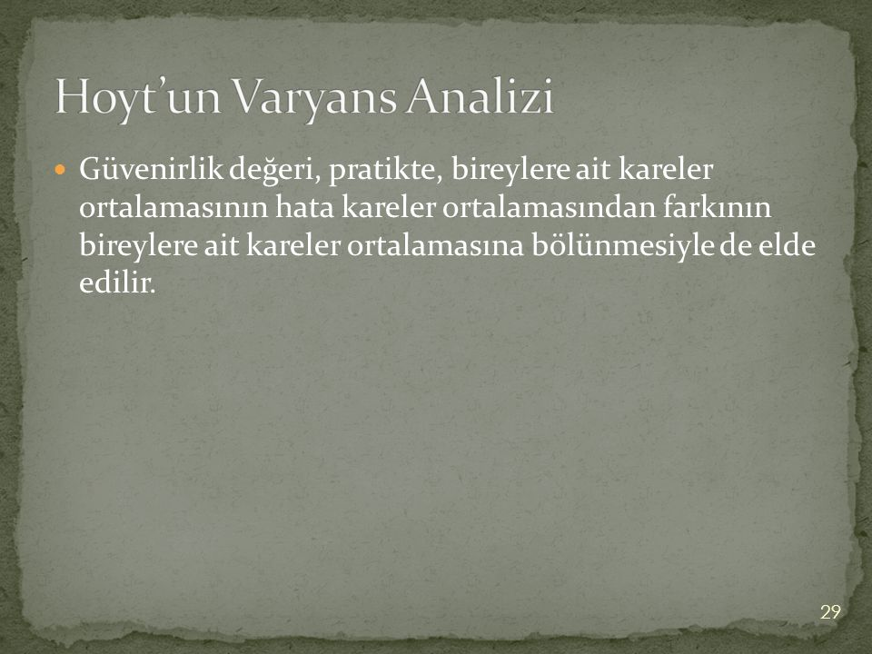 Hoyt'un Varyans Analizi
