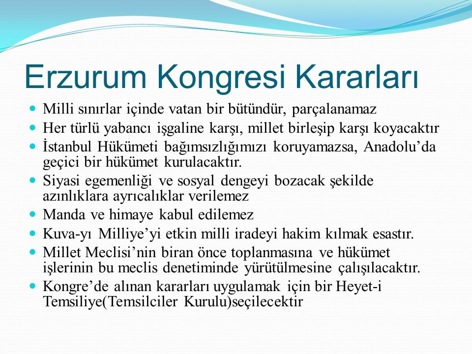 Erzurum Kongresi Kararları