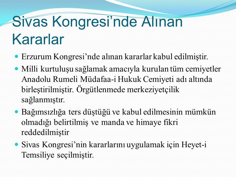 Sivas Kongresi'nde Alınan Kararlar