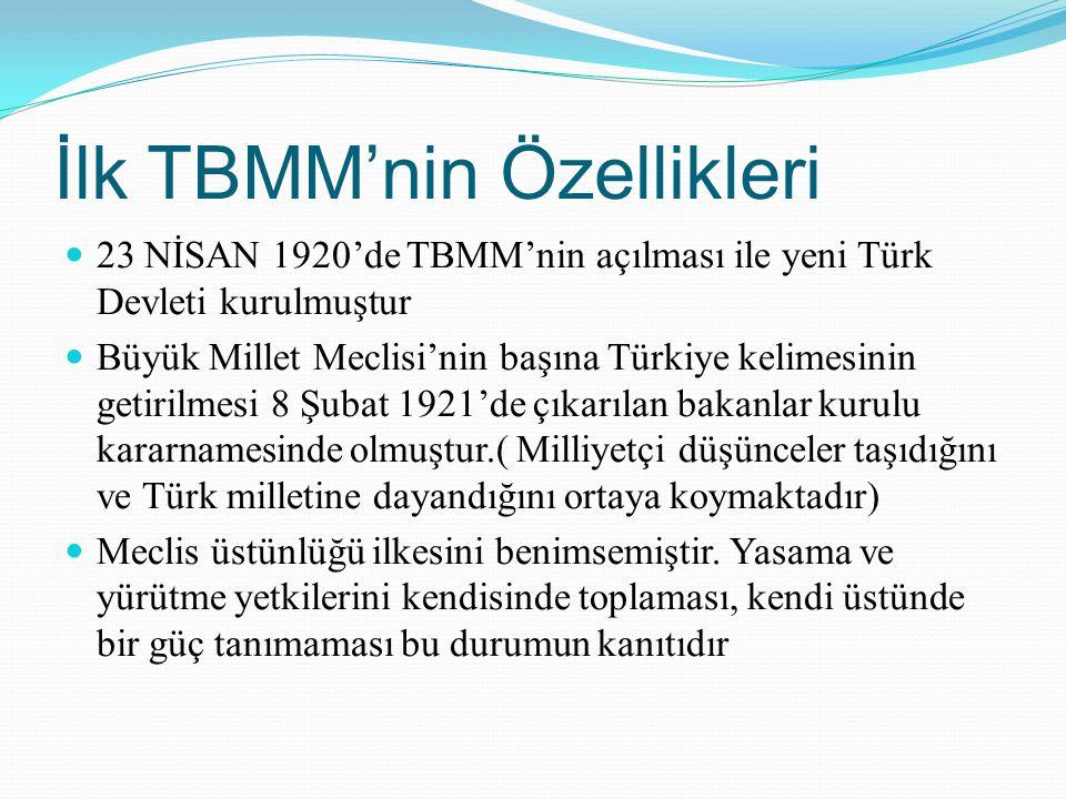 İlk TBMM'nin Özellikleri