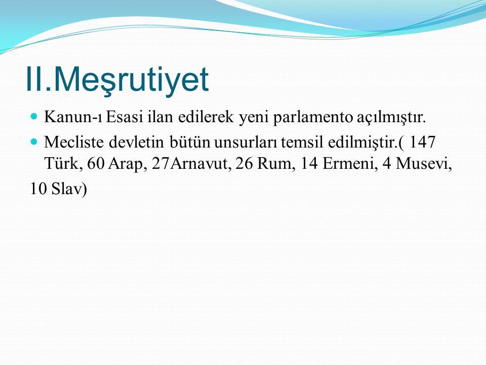 II.Meşrutiyet Kanun-ı Esasi ilan edilerek yeni parlamento açılmıştır.