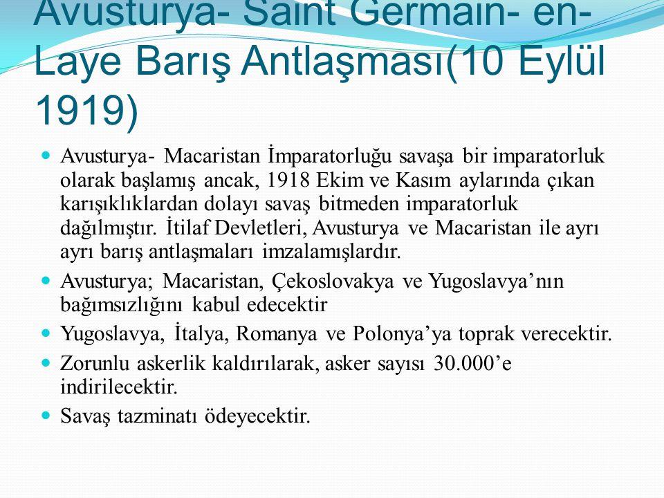 Avusturya- Saint Germain- en- Laye Barış Antlaşması(10 Eylül 1919)