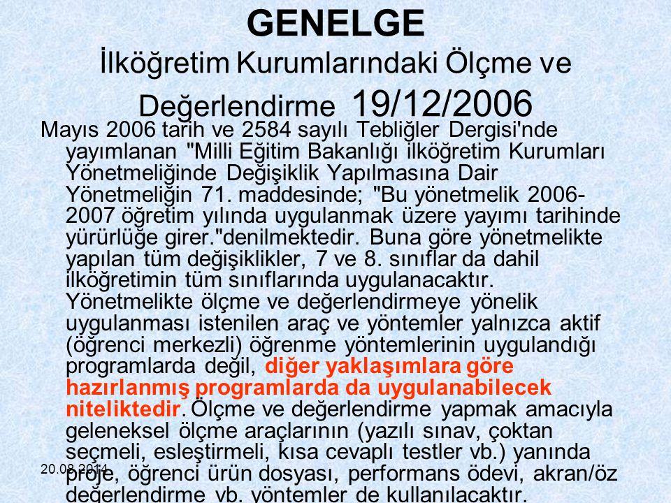 GENELGE İlköğretim Kurumlarındaki Ölçme ve Değerlendirme 19/12/2006