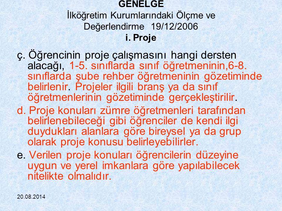 GENELGE İlköğretim Kurumlarındaki Ölçme ve Değerlendirme 19/12/2006 i