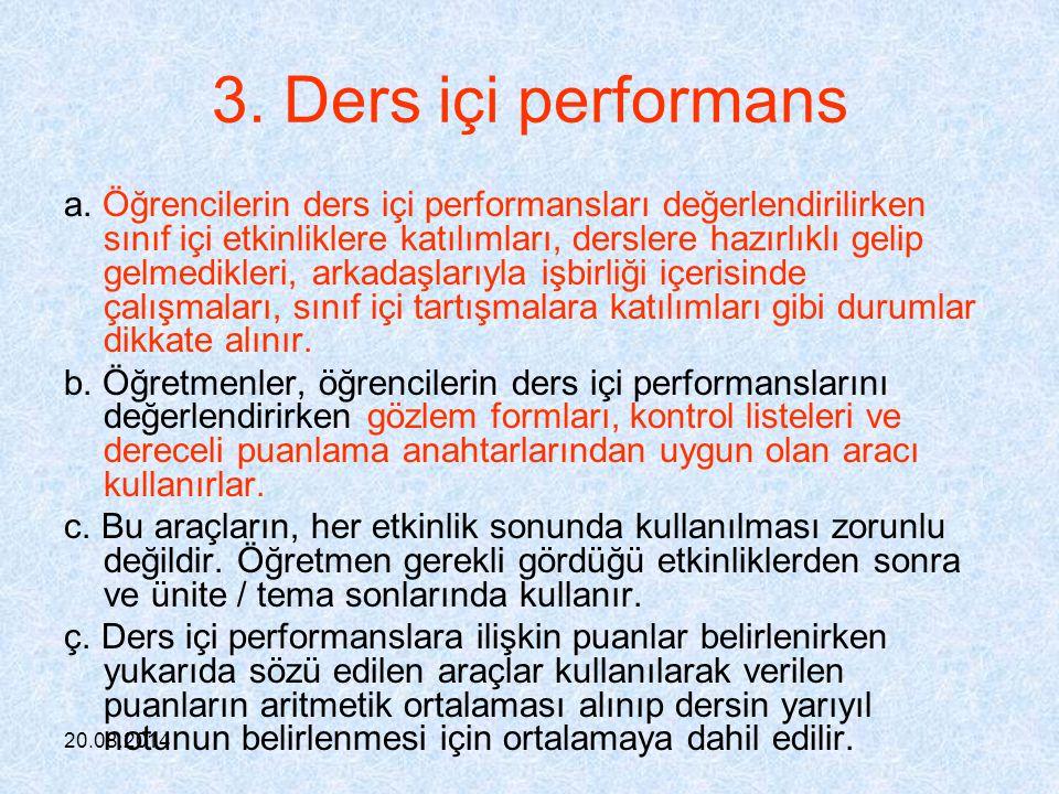 3. Ders içi performans