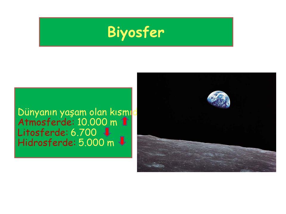 Biyosfer Dünyanın yaşam olan kısmıdır. Atmosferde: 10.000 m