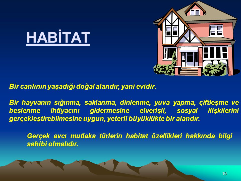 HABİTAT Bir canlının yaşadığı doğal alandır, yani evidir.