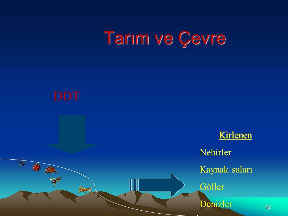 Tarım ve Çevre DDT Kirlenen Nehirler Kaynak suları Göller Denizler
