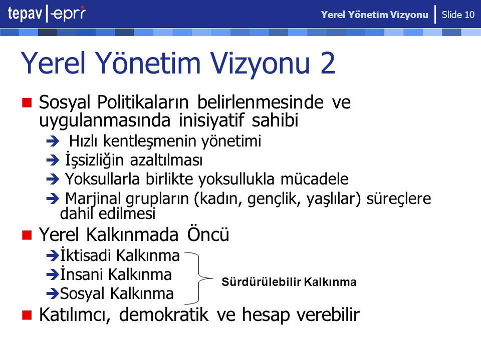Yerel Yönetim Vizyonu Yerel Yönetim Vizyonu 2. Sosyal Politikaların belirlenmesinde ve uygulanmasında inisiyatif sahibi.