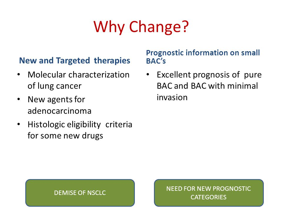 NEED FOR NEW PROGNOSTIC CATEGORIES
