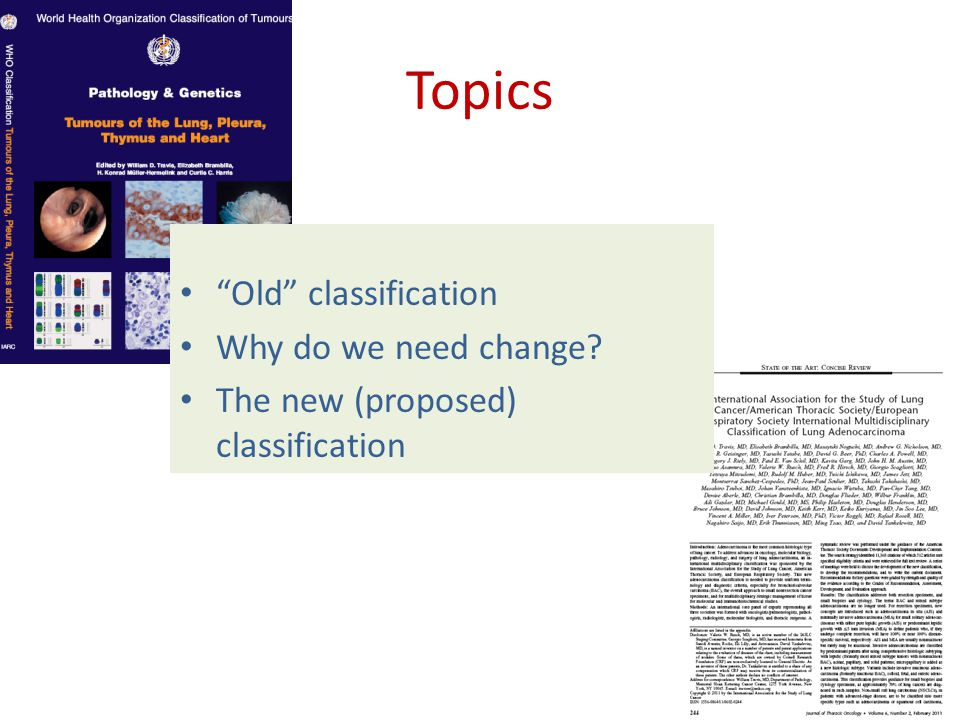 Topics Old classification Why do we need change