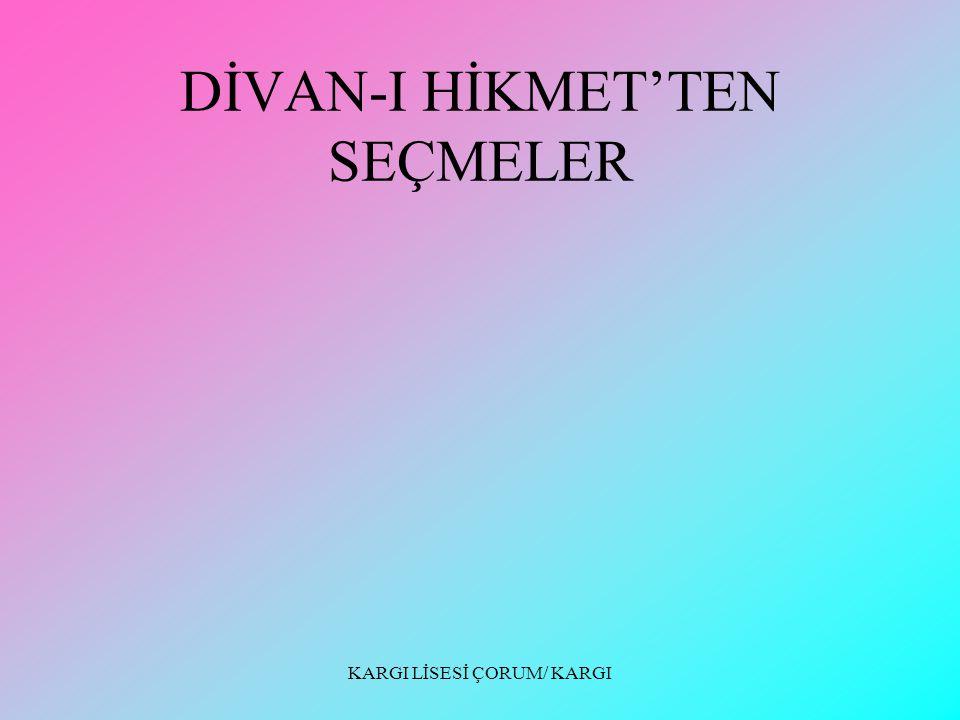 DİVAN-I HİKMET'TEN SEÇMELER