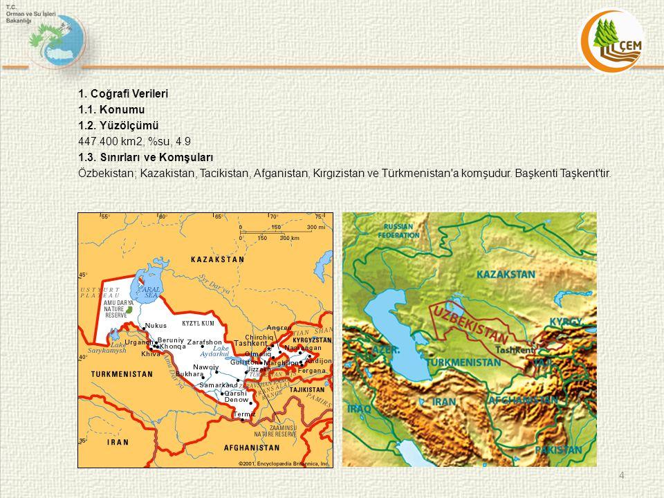 1. Coğrafi Verileri 1. 1. Konumu 1. 2. Yüzölçümü 447. 400 km2, %su, 4