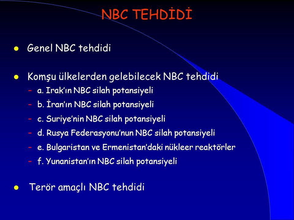 NBC TEHDİDİ Genel NBC tehdidi Komşu ülkelerden gelebilecek NBC tehdidi
