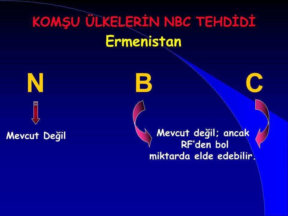 KOMŞU ÜLKELERİN NBC TEHDİDİ miktarda elde edebilir.