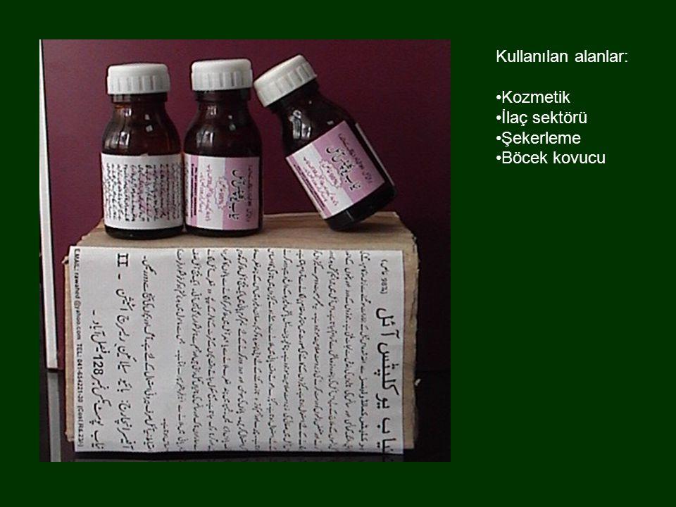 Kullanılan alanlar: Kozmetik İlaç sektörü Şekerleme Böcek kovucu