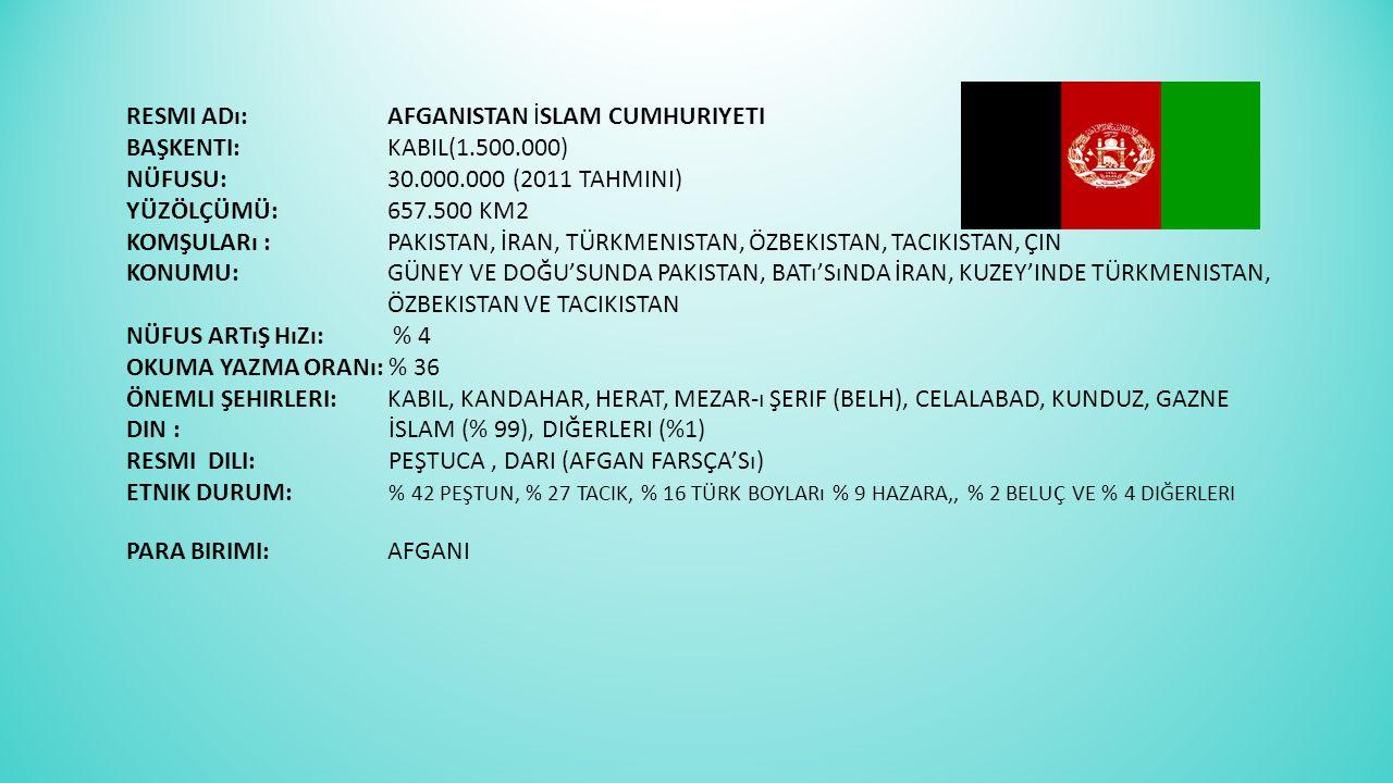 Resmi Adı:. Afganistan İslam Cumhuriyeti Başkenti:. Kabil(1. 500