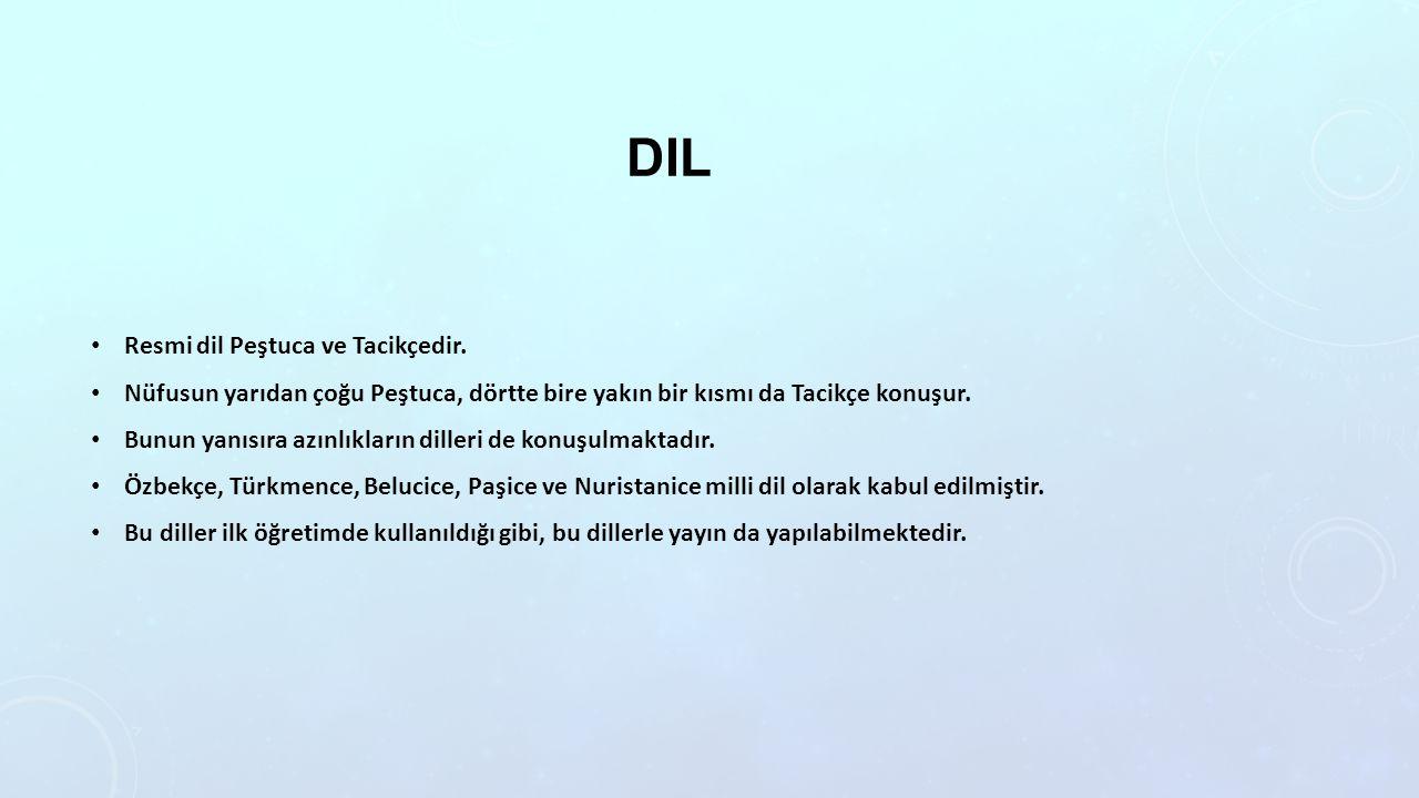 Dil Resmi dil Peştuca ve Tacikçedir.