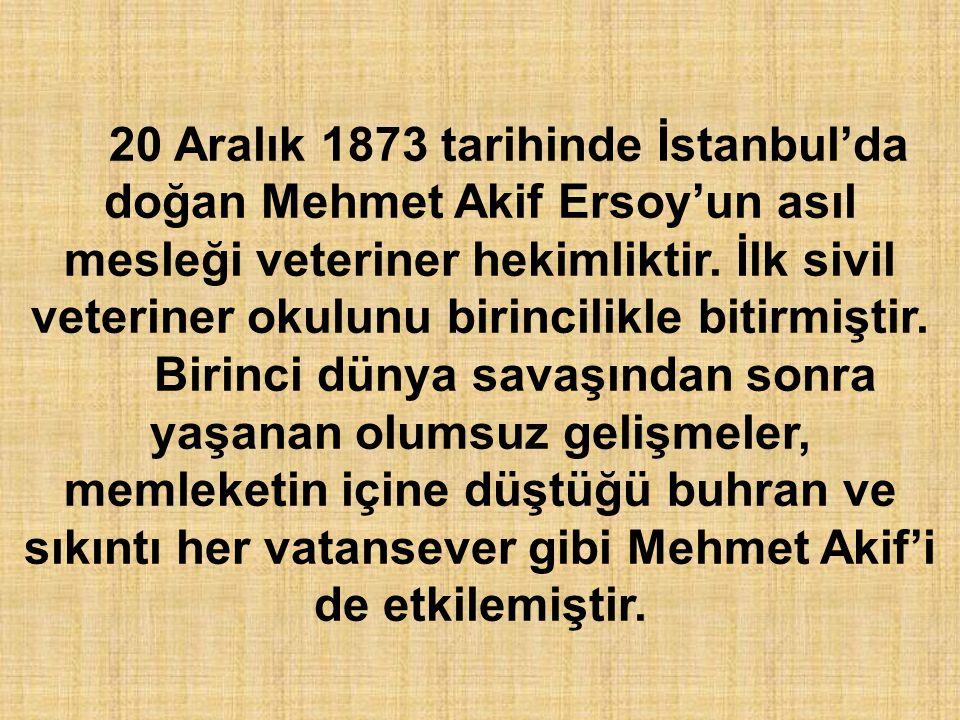 20 Aralık 1873 tarihinde İstanbul'da doğan Mehmet Akif Ersoy'un asıl mesleği veteriner hekimliktir. İlk sivil veteriner okulunu birincilikle bitirmiştir.