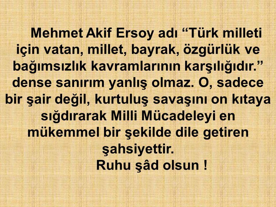Mehmet Akif Ersoy adı Türk milleti için vatan, millet, bayrak, özgürlük ve bağımsızlık kavramlarının karşılığıdır. dense sanırım yanlış olmaz. O, sadece bir şair değil, kurtuluş savaşını on kıtaya sığdırarak Milli Mücadeleyi en mükemmel bir şekilde dile getiren şahsiyettir.